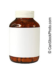 Pill bottle with blank label, ready for your message. Isolated on white.