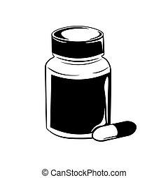 Pill bottle. Vector illustration isolated on white