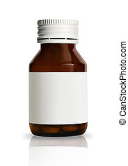Pill bottle with blank label - Vial of pills with blank ...