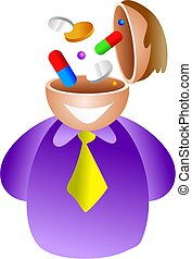 pill brain - man with pills and tablets in his head - icon...