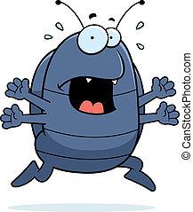 Pill Bug Panic - A cartoon pill bug running in a panic.