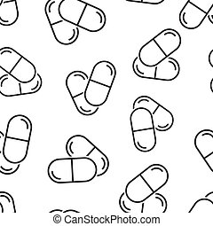 Pill capsule icon in flat style. Drugs vector illustration on white isolated background. Pharmacy seamless pattern business concept.