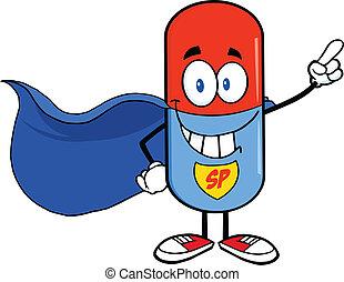 Pill Capsule Super Hero Cartoon Character