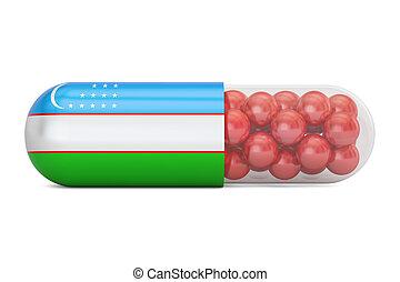 Pill capsule with Uzbekistan flag, 3D rendering