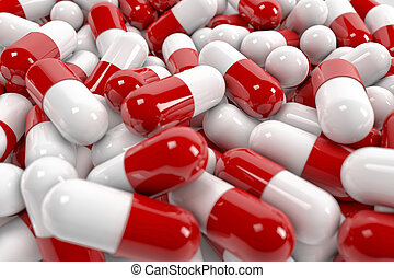 Pill capsules - Red and white pill capsules pile