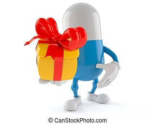 Pill character holding gift