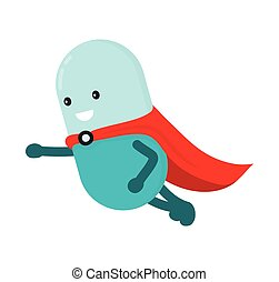 Pill character super-hero flying