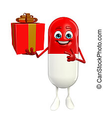Pill Character with gift box