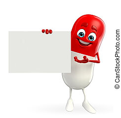 Pill Character with sign - Cartoon character of pill with...