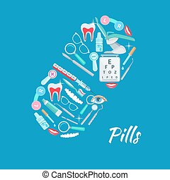 Pill dentistry ophthalmology vector poster - Medical poster...