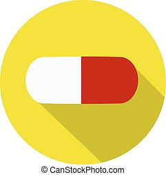Pill flat icon. Flat design style modern vector illustration. Isolated on stylish color background. Flat long shadow icon. Elements in flat design. EPS 10.