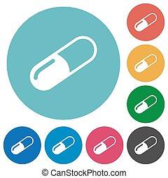 Pill flat round icons