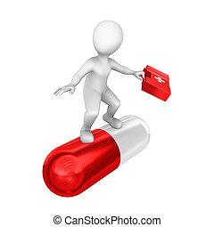 pill., groot, witte , 3d, rood, man