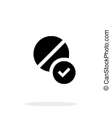 Pill icon with sign check on white background.
