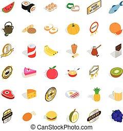 Pill icons set, isometric style