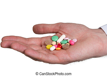 pill in a hand  on white background