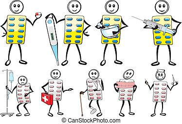 pill man - drug store - health clinic, health care icon