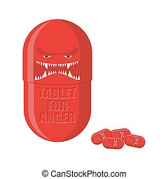 Pill of anger. Red Tablet with a scary face. Medicine with for ferocity. Vector illustration.