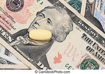 pill on US money