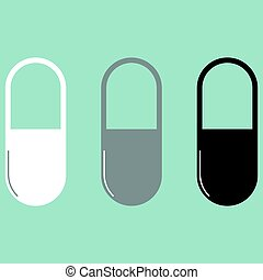 Pill or capsule white grey black icon.