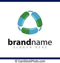 pill recycle logo vector template