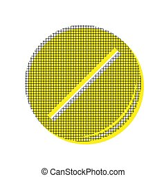 Pill sign illustration. Vector. Yellow icon with square pattern