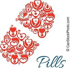 Pill vector icon of heart health care symbols