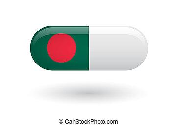 Pill with a flag of Bangladesh