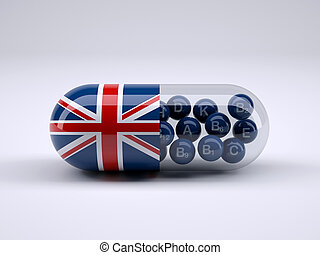 Pill with England flag wrapped around it and blue ball inside