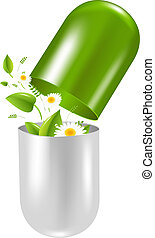 Pill With Herbs And Camomile, With Gradient Mesh, Vector ...