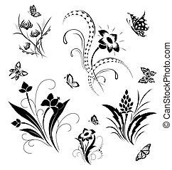pillangók, állhatatos, veregetés, virág
