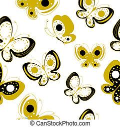 pillangók, elszigetelt, fekete, fehér