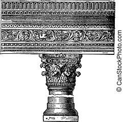 Pillar in the Church of Saint John in Constantinople. vintage engraving