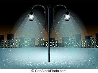 pillar night city background