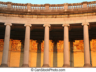 Pillars at dusk. Picture taken in Brussels, Belgium NOTE TO REVIEWER : The paintings on the wall date from 1905, hence there should be no copyright issue regarding this image, thanks