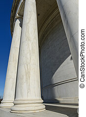 Pillars at the Jefferson Memorial in Washington DC