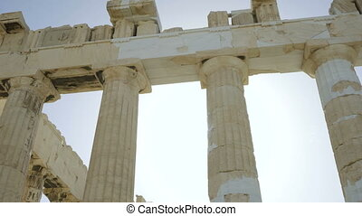 Pillars of Parthenon - ancient temple in Athenian Acropolis,...