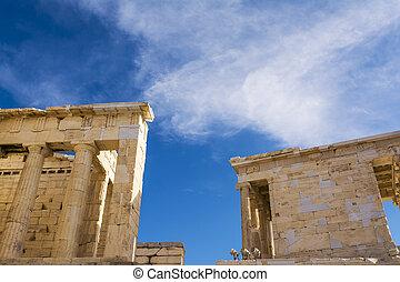 Pillars of Propylaia gateway in Acropolis of Athens, Greece.