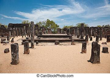 Ruins. Ancient city of Polonnaruwa. Sri Lanka - Pillars. ...