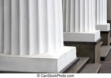 Pillars - Three classical white greek columns in a row