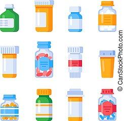 pille, wohnung, satz, verordnung, vitamine, pillen, freigestellt, droge, oder, vitamin, vektor, etikett, flasche, medizinprodukt, behälter, bottles., mineralien