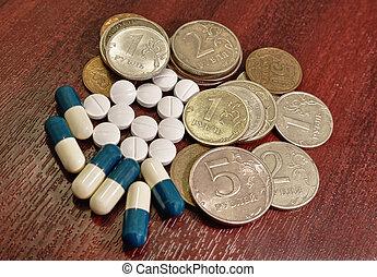 pillen, capsules, geneeskunde, en, geld, munt