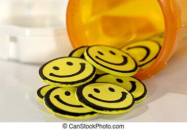 pillen, glücklich