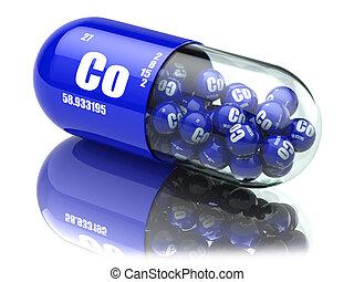 pillen, mit, kobalt, co, element, diätetisch, supplements., vitamin, capsules.