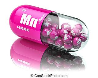 pillen, mit, mangan, mn, element, diätetisch, supplements., vitamin, capsules.