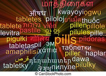 pillen, multilanguage, wordcloud, achtergrond, concept, gloeiend