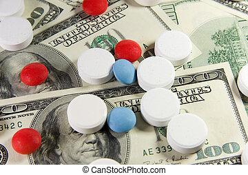 pillen, op, een, bos van, ons dollars