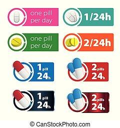 pillen, pille, bunte, zwei, pro, zeichen, eins, tag