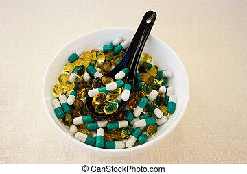 pillen, schüssel, hintergrund, stoff