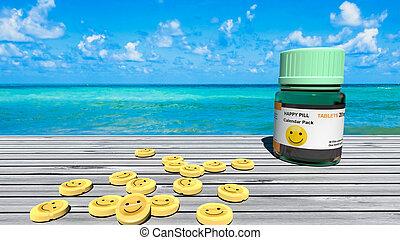 pillen, smiley, blauwe-groen, oceaan, tafels, horizon, lege, vrolijke